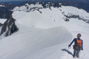 Descending summit snow ridge