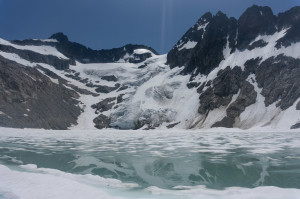 Lake, Banded Glacier, and Logan (r)