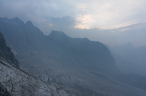 Wildfire smoke obscures retreating Palisade Glacier