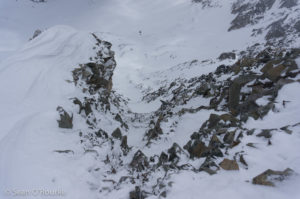 Looking down crux