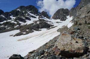 Snowfield used to climb Azurite
