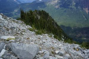 Looking 4000 feet down access ridge