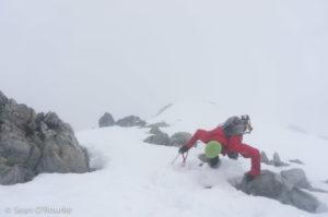 Crux pitch below summit